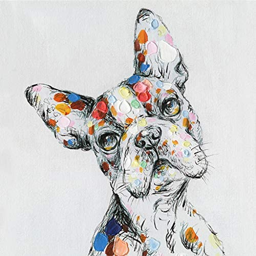 Boston Terrier What Dog Wall Art Modern Printing On Canvas Painting with Hand Embellished Home D cor 28 x 28