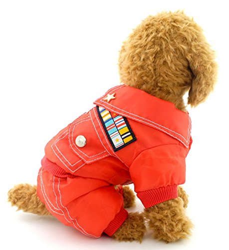 [Ranphy Small Dog Clothes for Male Snowsuit Dog Military Jacket Fleece Lined Four Legged Jumpsuits Winter Red] (Easy Cowgirl Costume Ideas)