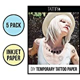 Tattify DIY Temporary Tattoo Paper 5 Sheet Pack For Inkjet Printers, Printable Long Lasting Custom Tattoos At Home, Sticker Transfer Sheets With Clear Instructions, Waterproof And Sweat Resistant