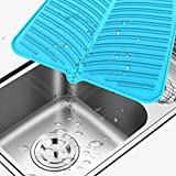 """Silicone Dish Drying Mat, Malsipree Large 16""""X14"""" Dish Mat for Kitchen, Heat Resistant"""