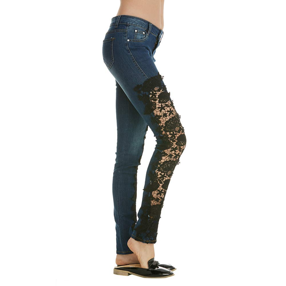 dabcae507df1c GoodLock Women Fashion Slim Fit Jeans Ladies Casual Printing Lace Skinny  Pencil Denim Stretch Fitness Pants at Amazon Women s Jeans store