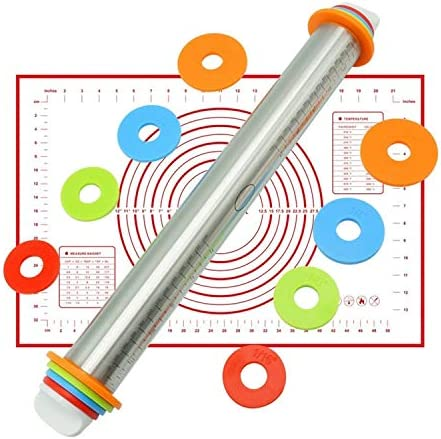 Adjustable Stainless Steel Rolling Pin Dough Mat Roller 4 Removable Rings
