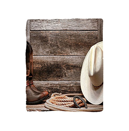 VROSELV Custom Blanket Western Americana Rodeo Fashion White Straw Hat Original Lariat Lasso and on Barn Soft Fleece Throw Blanket Tortilla Brown