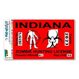 Indiana IN Zombie Hunting License Permit Red - Biohazard Response Team MAG-NEATO'S™ Automotive Car Refrigerator Locker Vinyl Magnet