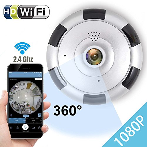 IP Camera 360 WiFi 1080P Outdoor Indoor Dome Camera Panoramic with Audio Motion Detection Alarm Monitor at Night for Home Security Support TF Card Android iOS,Home Electronic