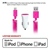 Rebelite Apple Certified Coil Cable Car Charger w/ 4 ft of Length & Lightning Cable Connector for iPhone, iPod, iPad, Samsung Galaxy, & other smartphones, tablets, & mp3 players (Peppy Pink) by Rebelite