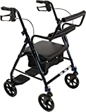 ProBasics Transport Rollator with Padded Seat, Blue, Easy Folding System, 8 Inch Wheels, Weight Capacity: 250 Pounds