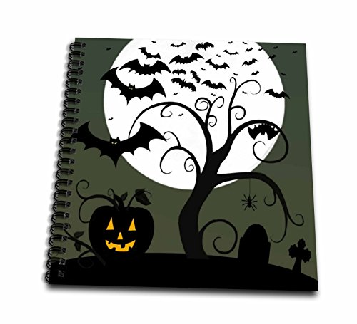 Renderly Yours Autumn And Halloween - Toon Spooky Tree Jack O Lanterns And Bats With Moon - Drawing Book - Drawing Book 8 x 8 inch