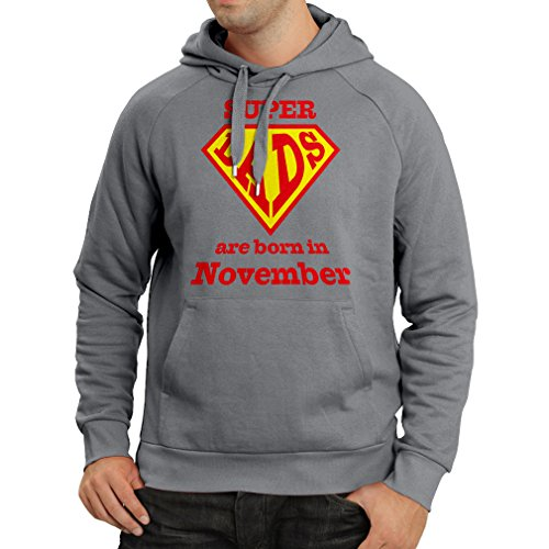 Hoodie Super Hero Dads are Born in November him (XX-Large Graphite Multi Color)