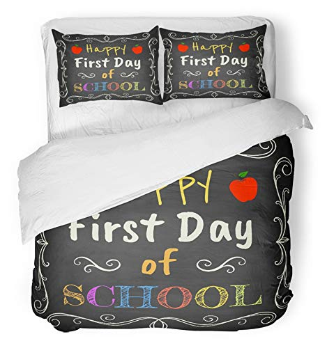 Emvency 3 Piece Duvet Cover Set Breathable Brushed Microfiber Fabric Colorful Back Happy First Day of School Chalk Text on Blackboard Apple Board Drawing Bedding with 2 Pillow Covers Full/Queen Size