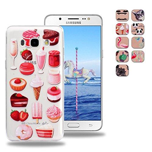 OuDu Funda Silicona para Samsung Galaxy J5 2017 SM-J530F Carcasa Flexible Suave Funda de TPU Transparente Soft Clear Case Cover Carcasa Protectora Anti Rasguños - cactus Postres