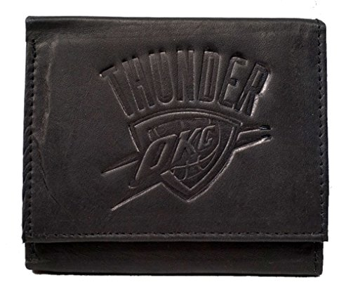 Rico Oklahoma City Thunder NBA Embossed Logo Black Leather Trifold Wallet (Card Logo Credit Oklahoma)