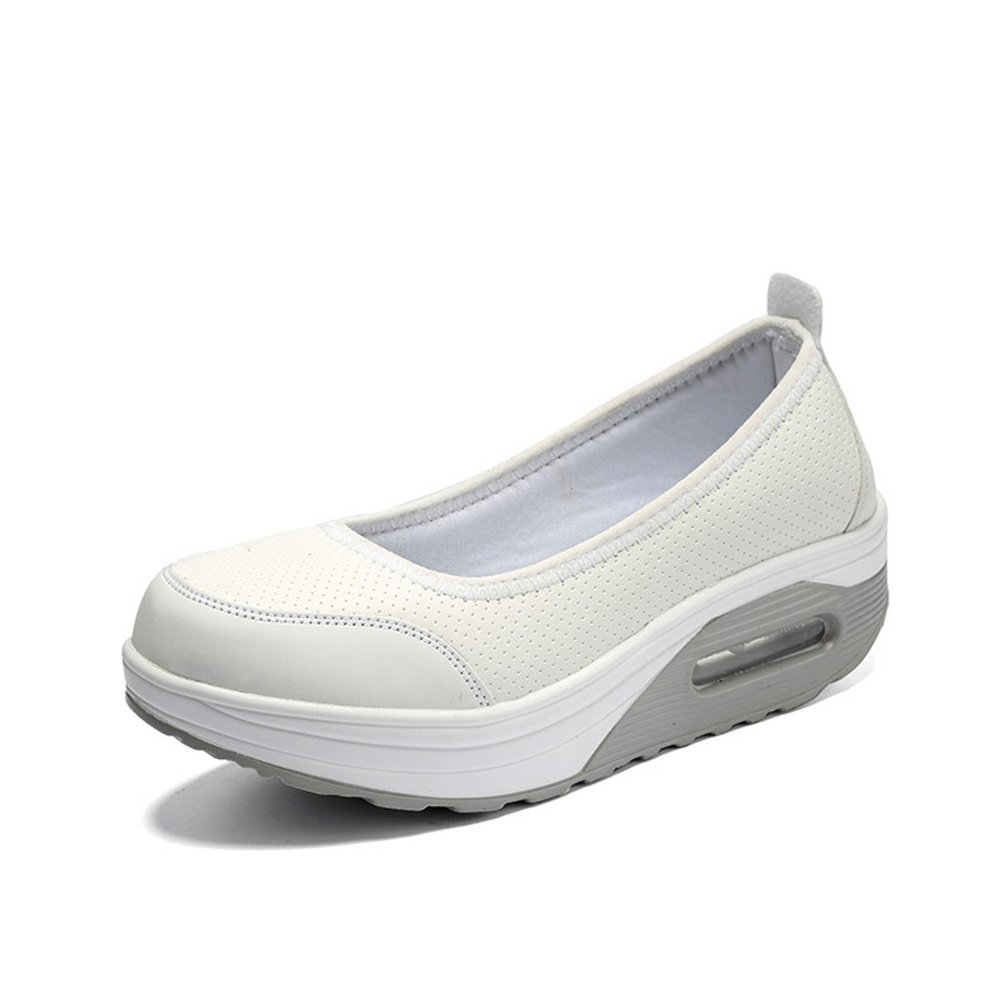 Womens Casual Slip-On Breathable Air Mesh Platform Shoes Mesh And Suede Leather Fitness Shake Shoes Fitness Shake Shoes Height-increasing Ladies Shake ...