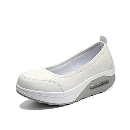 Womens Casual Slip-On Breathable Air Mesh Platform Shoes Mesh And Suede Leather Fitness Shake