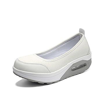 Zapatillas sin Cordones y Transpirables de Aire comprimido para Mujer con Plataforma Zapatillas y Calzado de Fitness con agitación (Color : Blanco, ...