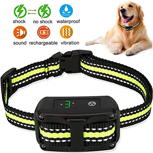 LELEKEY Dog Bark Collar,Automatic Anti Barking Control Device,5 Adjustable Sensitivity,Waterproof & Rechargeable,Humane Staitic Shock,No Shock,Beep & Vibration for Small Medium Large - Collar Dog Bark Automatic