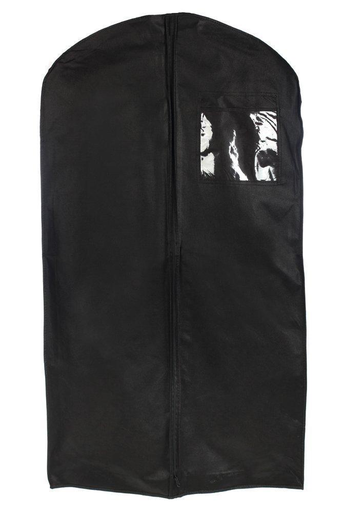 Dance Garment Bag. Breathable Costume/Uniform and Suit Zipper Garment Bag, 46'', Black, with 6''x6'' ID Pocket By Tuva Inc.