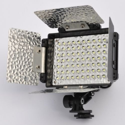 LEDwholesalers 70 LED Video Light with Rechargeable lithium battery and 4 Leaf Barndoor, 4001 by LEDwholesalers