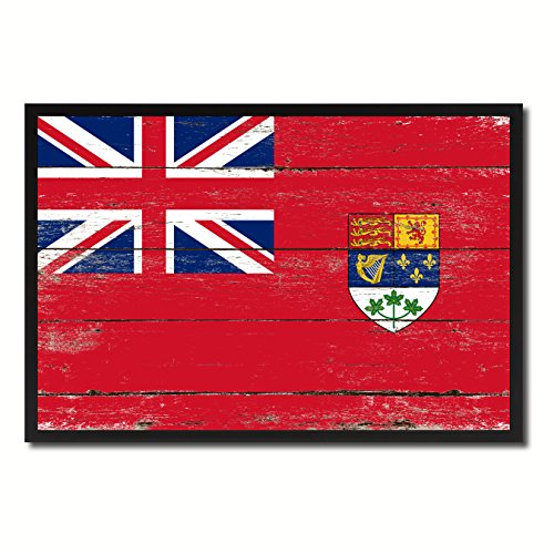 Canada Vintage Flag (Canadian Red Ensign City Canada Country Flag Vintage Canvas Print Black Picture Frame Home Decor Wall Art Collectible Decoration Artwork Gifts 13