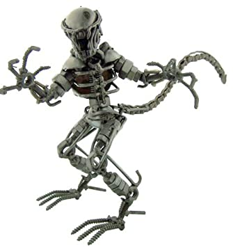 Collectible Art Sculpture 7 Inch Space Alien Figurine Made with Recycled Metal