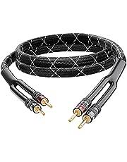 GearIT 12AWG Cable Trenzado Resistente para bocina, Negro, 1,82m