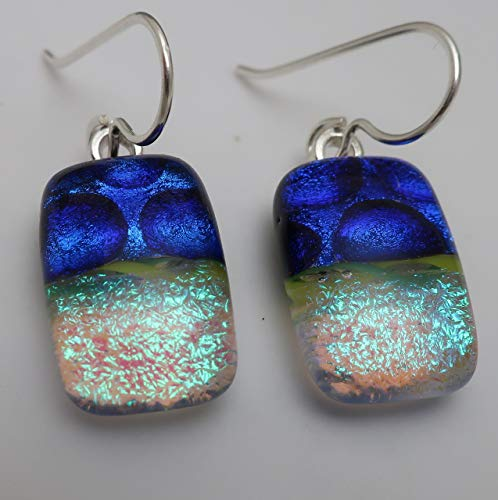 - Fused Cobalt blue green Dichroic Glass dangle Earrings 925 Sterling silver ear wires #148