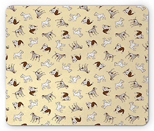 Dalmatian Mouse Pad, French Bulldogs Terrier Labrador Joyful Friends Pets Company, Standard Size Rectangle Non-Slip Rubber Mousepad, Pale Yellow Chocolate ()