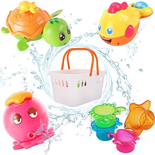 iPlay, iLearnBabyBathToys,Fun Bath Time Tub Toys w/ Organizer, Kids Wind Up WaterToys,Stacking Cups, Gifts for 6, 9, 12, 18 Months 1, 2 Years, Toddlers, Girls, Boys