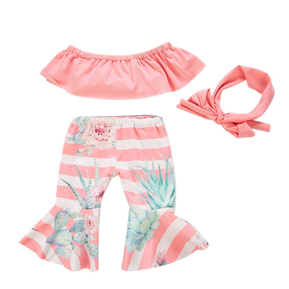 yijing Doll Clothes Outfits Set Kids Toy Shirt Pants Suit Headband 18 Inch American Toy Girl Doll Accessory Toy Gift Pink