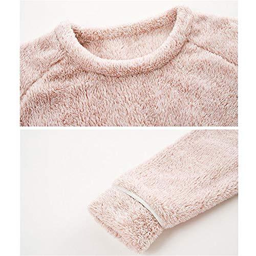 Coral Juego Caliente Casero Pijama Cuello Redondo Pink Señoras Manga Servicio Invierno Bedgown Leeqn De Terciopelo Largo OpTqW8w