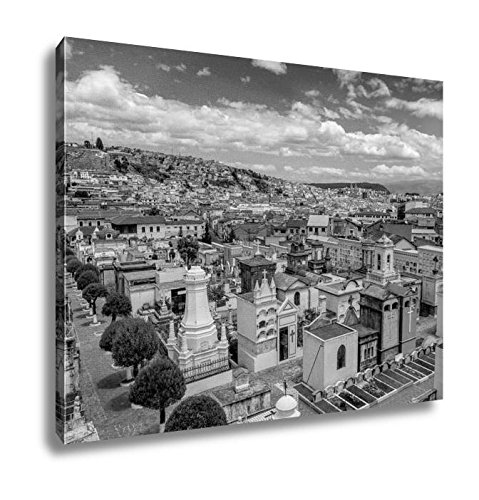 Ashley Canvas Spectacular Overview Of Cemetary San Diego Showing Typical Catholic Graves With, Home Office, Ready to Hang, Black/White 20x25, AG6523021 by Ashley Canvas