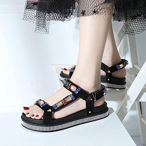 de YMFIE Ocio Agua EU 36 Sandalias Calzado Antideslizante Toe Confortable señoras Moda 39 Playa Diamante de El Estilo Verano EU Toe Europeo BFrqaYFA