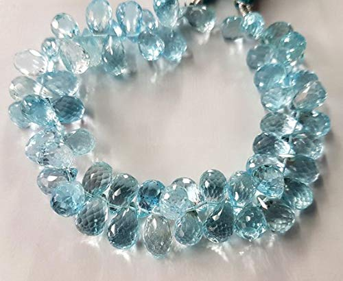50% Off Kalisa Gems Topaz Gemstone Drops Sky Blue Topaz Faceted Drops briolettes,Teardrop Beads,Nice Superb Quality,Size 6x9 mm - 6x11 mm 8 inch Strand