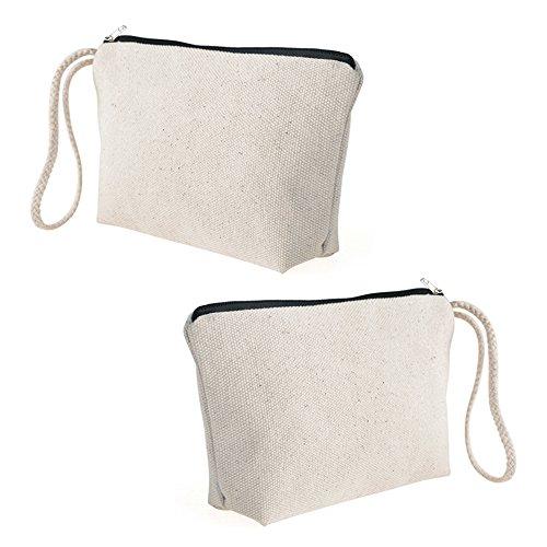 Aspire 1 Dozen Natural 100% Cotton Canvas Pouches with Black Zip, Wristlet Cosmetics Bag