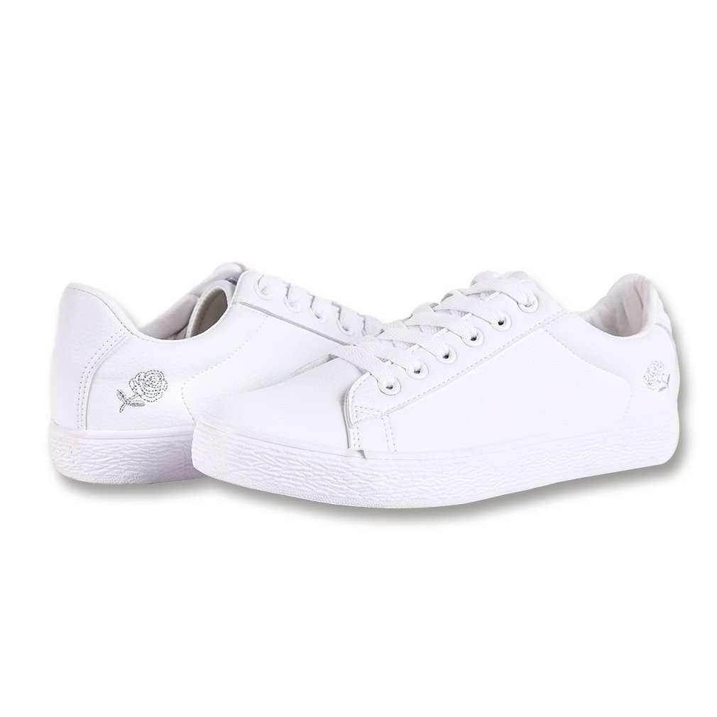 LANTINA Women's Low Top Fashion Sneakers PU Leather Shoes Lightweight Breathable Tennis Running Walking Athletic Ladies Summer Casual Dress on Clearance Sale, Embroidered Rose White Size 8