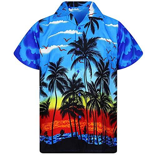 HUAMIN Men's Shirt Short Sleeve Button Down Hawaiian Print Casual Tall and Big Loose Shirt Top Blouse (XL, Blue)