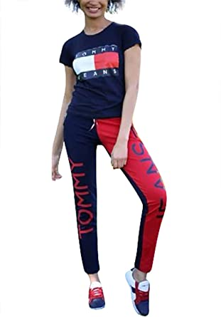 6ccc8e0d12792 Tryhame Short Sleeve 2 Piece Outfits Letter Print Shirt Leggings Pants  Jumpsuit Romper Set Blue