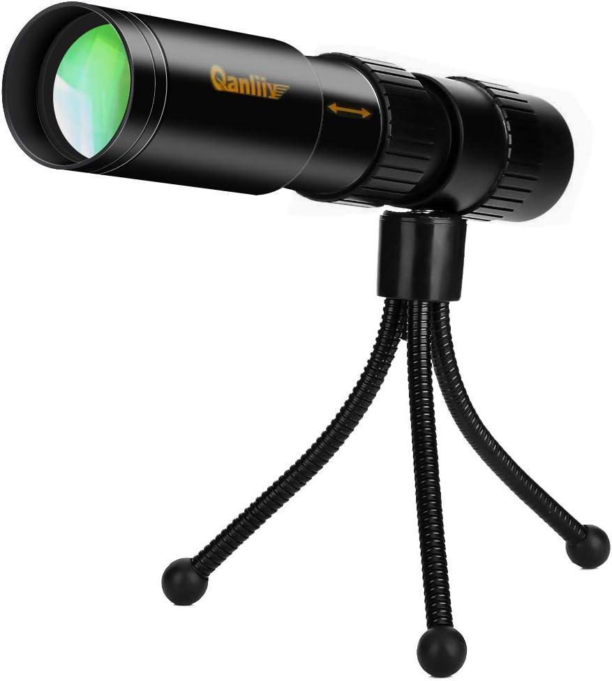 4K 10-300X40mm Super Teleobjetivo Zoom Telescopio monocular Lente Liviana Foco Prisma con Clip para tel/éfono Inteligente y tr/ípode para observar la Vida Silvestre al Aire Libre 10-300X40mm
