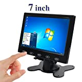 PONPY 7'' Ultra Thin 16:9 HD 800x480 Color TFT LCD Display Headrest Monitor Touch Button Monitor Screen AV HDMI VGA Video Input