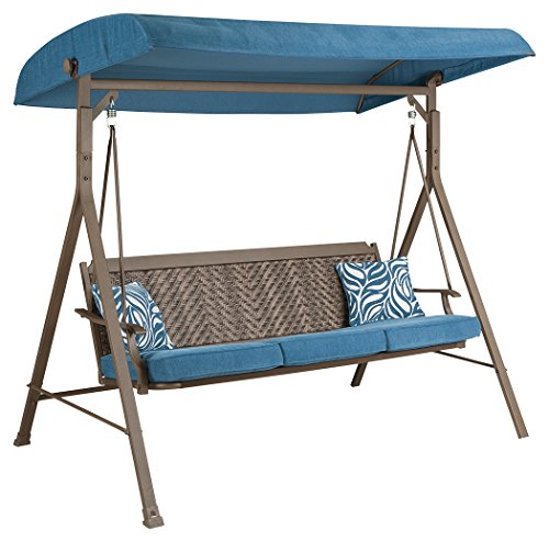 Ashley Furniture Signature Design - Partanna Steel Swing with Cushion & 2 Throw Pillows - Outdoor - Rust Free Aluminum - Blue & Beige