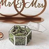 Handmade Gold Open Terrarium - Tabletop Geometric Mini Hexagon Ball Shape for Mini Hexagon Geometric Wedding Ring Box Ring Bearer Box Planter Wedding Decoration (No Plants) White