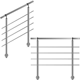 ringhiera per montaggio laterale su scale, balcone e terrazza con barre orizzontali fino a 6 m al pezzo.