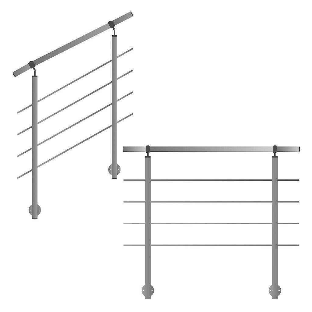 ringhiera per montaggio laterale su scale balcone e terrazza con barre orizzontali fino a 6 m al pezzo.