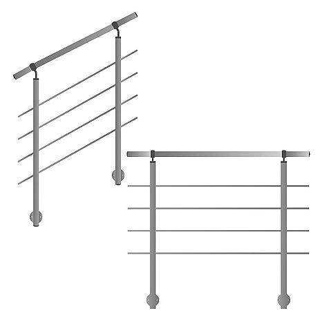 L/änge 100 cm mit 2 Pfosten und 2 Querstreben Seitenabstand 50mm Variante Gel/änder f/ür seitliche Montage an Treppe Balkon und Terrasse mit waagerechte Querstreben bis 6m am St/ück