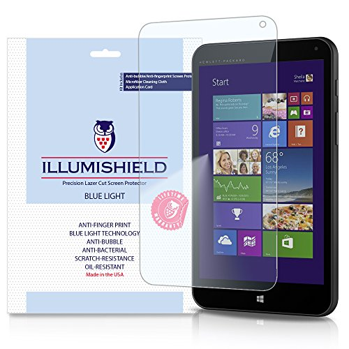 iLLumiShield - HP Stream 7 Screen Protector with HD Blue Light UV Filter and Lifetime Replacement Warranty / Premium High Definition Clear Film / Reduces Eye Fatigue and Eye Strain - Anti- Fingerprint / Anti-Bubble / Anti-Bacterial Shield - [2-Pack] Retail Packaging