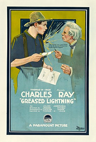 Greased Lightning (1919) Original Silent Film Movie Poster 27x41 LINEN-BACKED Film stars CHARLES RAY and WANDA HAWLEY Film Directed by JEROME STORM
