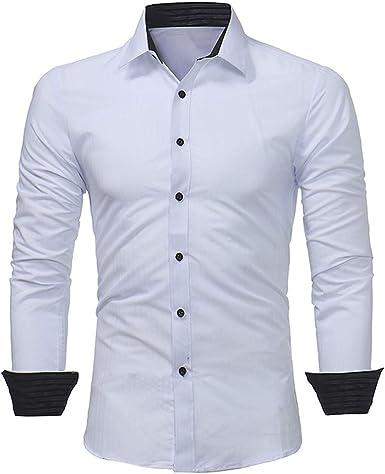 Barkoiesy - Camisa para hombre, diseño de rayas, a la moda, de manga larga, ajustada, camiseta informal para el día a día, camiseta sin costo blanco XXL: Amazon.es: Ropa y accesorios