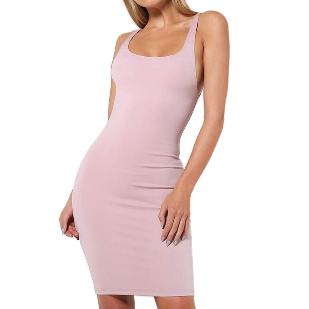 Alangbudu Women's Sleeveless Tank Dress Basic Scoop Neck Bodycon Midi Dress Pink