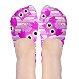 chicken angel eyes - Womens Adorable Big Eyes Pink Owl Soft No Show Low Cut Socks Non Slip Flat Boat Line