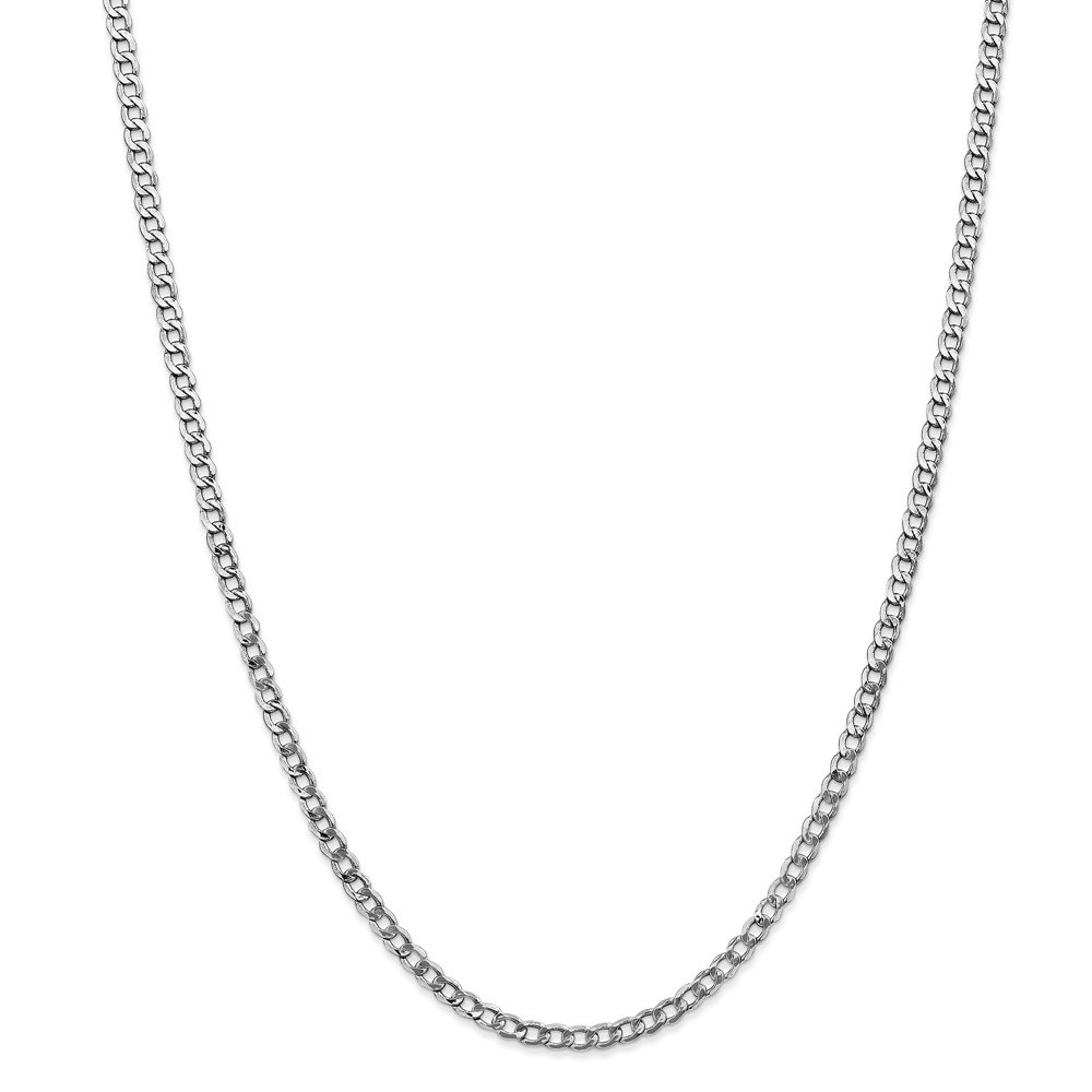 14k White Gold 3.35mm Curb Chain Necklace 3.83g